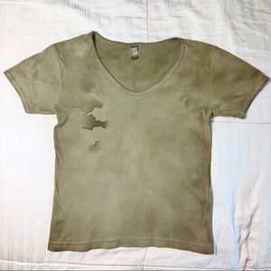 Herbal Dyed V-neck American Apparel T-shirt